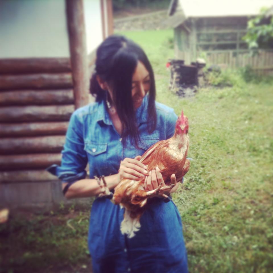 chiharu with chicken