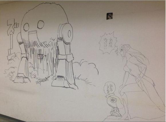 Manga graffiti at soon-to-be demolished Shogakukan building in Japan7