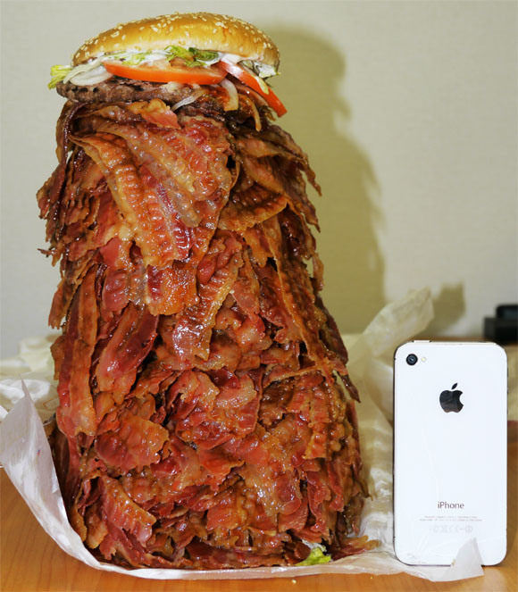 We Order Whopper With 1050 Bacon Strips, Struggle to Level Comically Huge Burger1