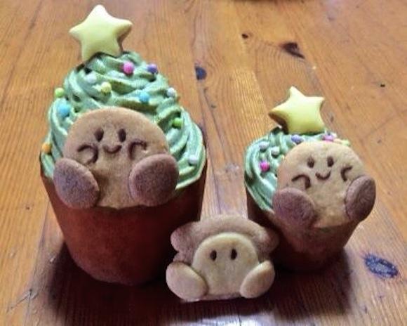 Kirby Christmas cupcakes