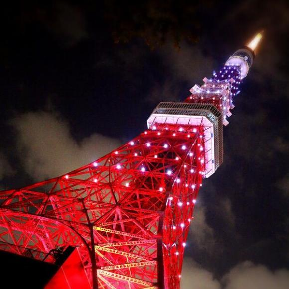 red white and blue tokyo tower
