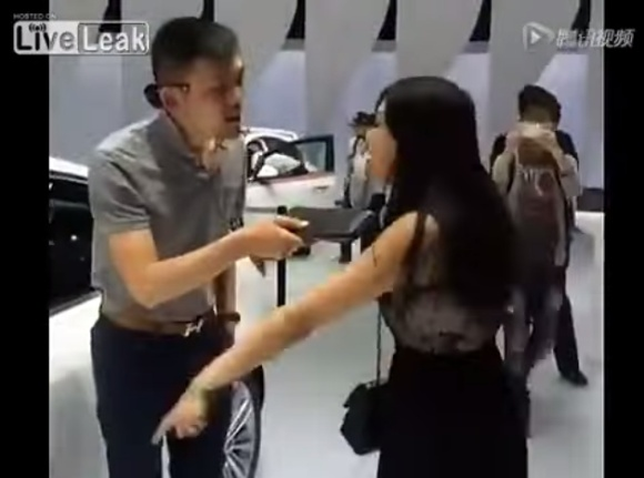 Woman wants man to buy white car for her at auto show - YouTube.clipular