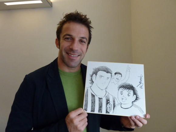 Alessandro Del Piero and original Captain Tsubasa illustration by Youichi Takahashi