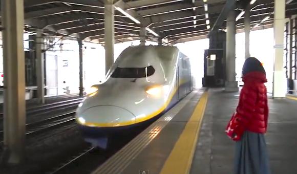 Echigo-Yuzawa Station, Niigata, E4 shinkansen bullet train