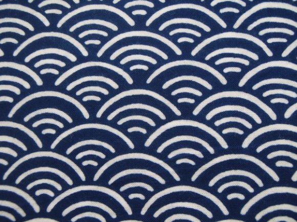 traditional Japanese motif pattern GIF, dyed fabric, seigaiha blue ocean sea wave,  青海波