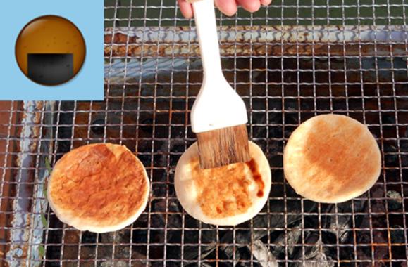 soy sauce senbei rice cracker, nori seaweed, grill grilling making, brushing, emoji emoticon