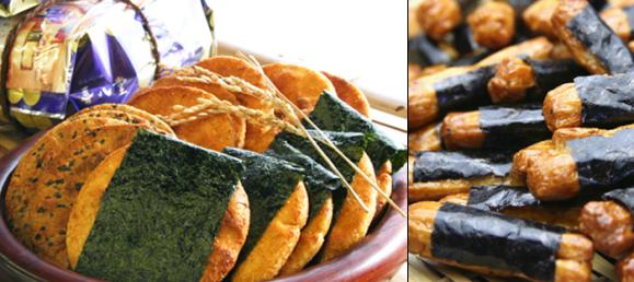 soy soya sauce senbei rice cracker, nori seaweed, Japanese snack