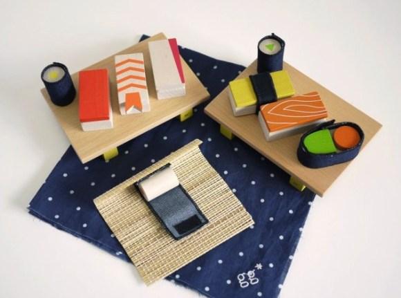 gg* sushi wooden building block set