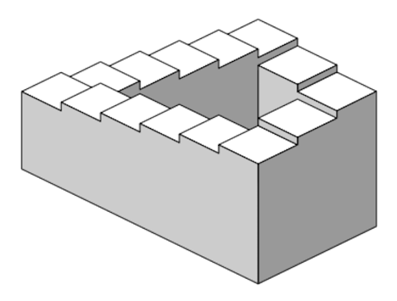 Penrose stairs, steps, impossible staircase, Lionel and Roger Penrose