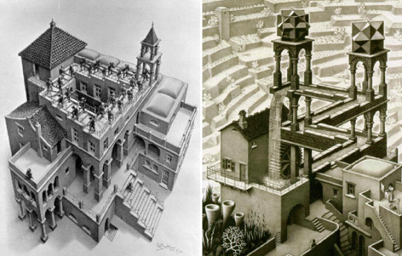 M. C. Escher, Ascending and Descending, Waterfall optical illusion, impossible objects