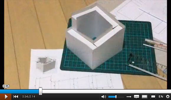 perpetual motion optical illusion, Penrose stairs, paper craft construction