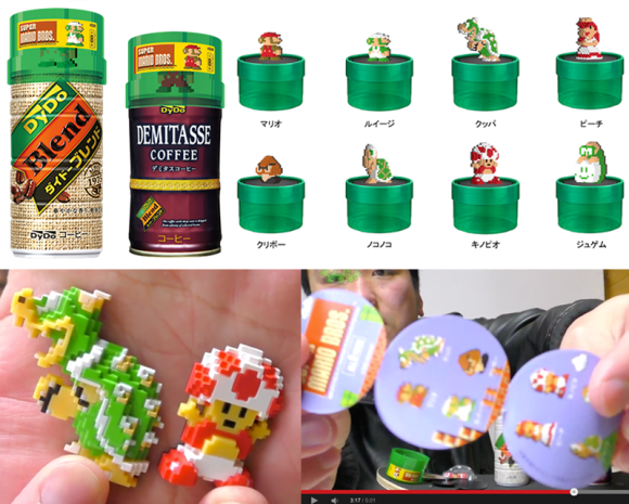 DyDo blend canned coffee drink and Nintendo Super Mario Bros Dot Figure Collection collaboration campaign