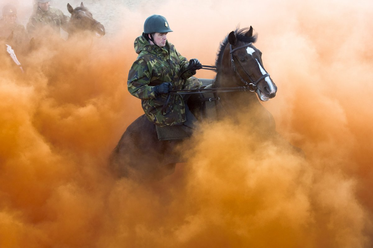 often-soldiers-are-asked-to-train-with-animals-these-dutch-gendarmes-ride-their-horses-through-smoke-bombs