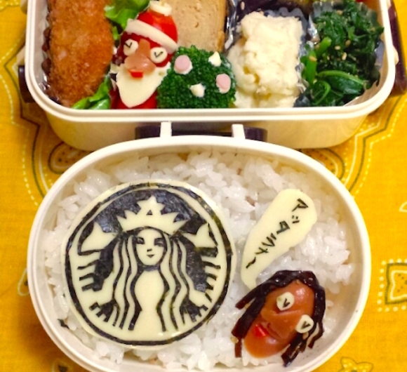 character bento, charaben, kyaraben, message, mom, I want a Starbucks, wish, santa, christmas