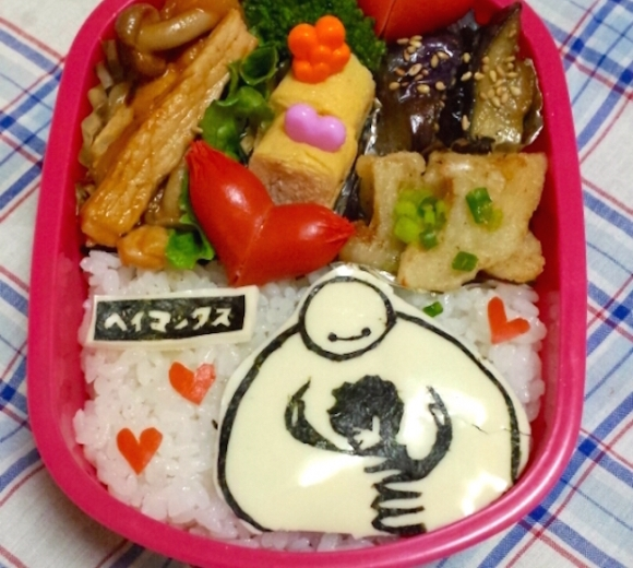 Baymax Character bento three years of kyaraben, iyagarase bento blog mom
