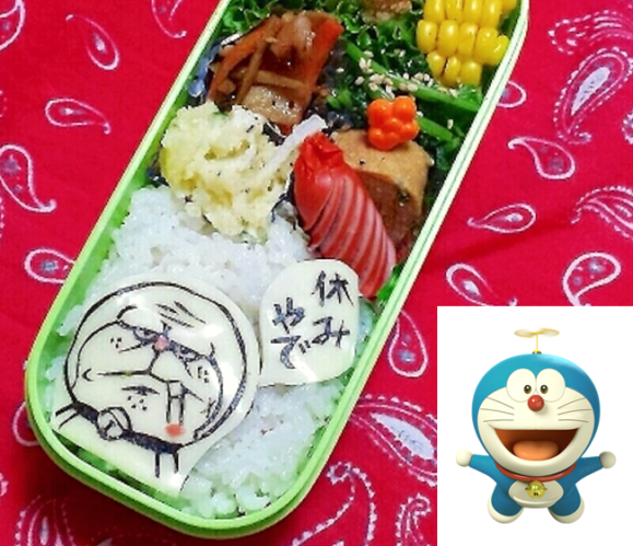 doraemon, Character bento three years of kyaraben, iyagarase bento blog mom