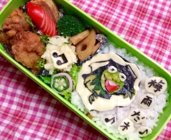 kermit the frog, muppets, sesame street, Character bento three years of kyaraben, iyagarase bento blog mom