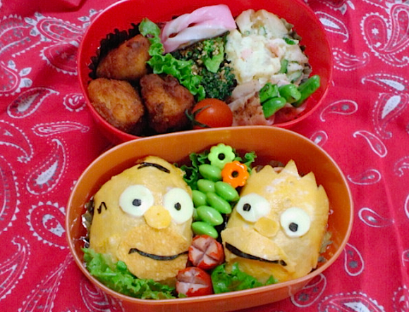 Simpsons, Homer Bart, Character bento three years of kyaraben, iyagarase bento blog mom