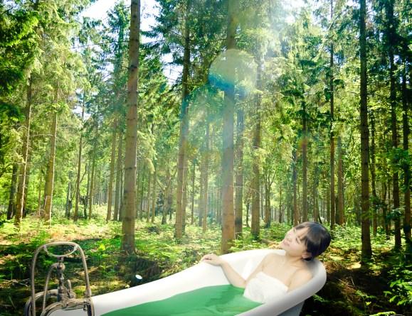 森の中でお風呂に入ったよ